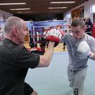 Carl Frampton trains with Barry McGuigan during the pair's long partnership