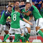 Record high: Northern Ireland players celebrate their first goal against the Czech Republic last week which propelled the team into the world's top 20