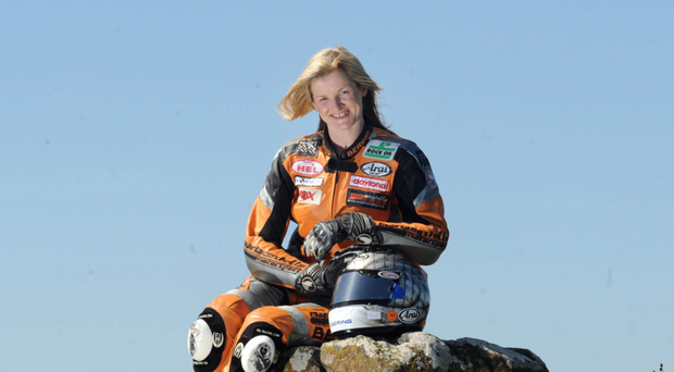 Driving seat: Maria Costello is ready to rock at the North West 200