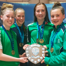 Big splash: (from left) Scarlett Armstrong, Mia Davison, Ellie McKibben and Amelia Kane with the 200m medley relay title