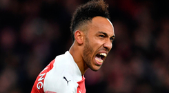 On target: Pierre-Emerick Aubameyang scored the fourth