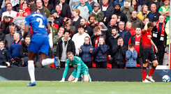 Firing line: David de Gea reacts after his latest error led to Chelsea's equaliser
