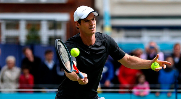 Doubling up: Andy Murray at Queen's yesterday
