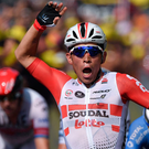 Stage joy: Caleb Ewan hails his victory in scorching Nimes