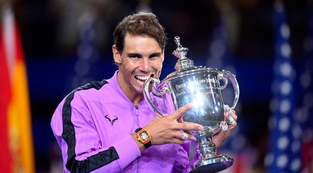 Champion again: Rafael Nadal with the US Open trophy