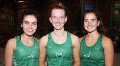 In hand: NI Under-21 captain Rebecca McCullough (centre) flanked by Frances Keenan (left) and Michelle Magee