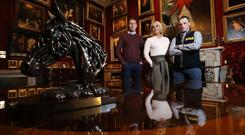 Festival fever: Down Royal CEO Emma Meehan with jockeys Sean Flanagan (right) and Keith Donoghue at Hillsborough Castle