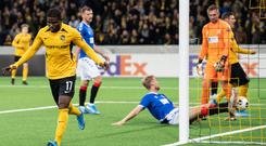 Swiss role: Young Boys' Roger Assale after equalising against Rangers in Bern, the Swiss side then grabbing a late winner