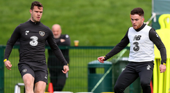 Pitching in: Kevin Long and Aaron Connolly (right) during Republic of Ireland training