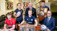 Class of 2020: pictured at the launch of the 2019-20 Danske Bank Ulster Schools' competitions are (from left) Sam Anderson (Craigavon Senior High School), Katie Hetherington (Enniskillen Royal GS), Adam Reid (Methodist College), Philip Gregg, Ulster Branch senior vice-president, Johnny O'Kane (Methodist College) and Richard Caldwell, Danske Bank
