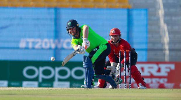 Striking out: Ireland's Paul Stirling on his way to 62 yesterday