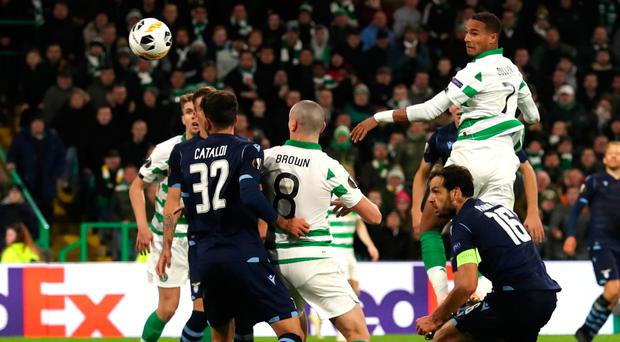 Christopher Jullien scores Celtic's late winner against Lazio in the Europa League last week