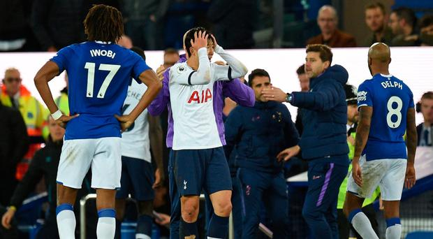 Tough time: Son Heung-min after seeing the injury