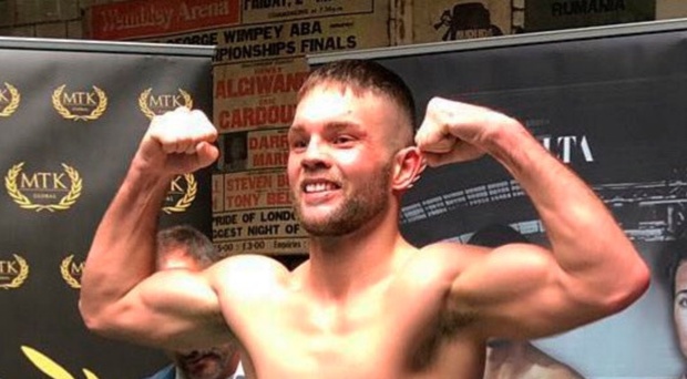 All set: Conrad Cummings at yesterday's weigh-in