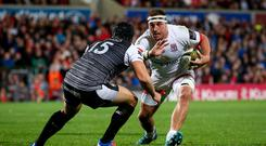 Powerhouse: Ulster's Rob Herring on the attack