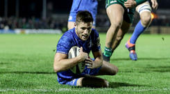 Made it: Leinster's Ross Byrne scores their fifth try last night