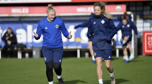 All smiles: Rebecca Flaherty (left) in training