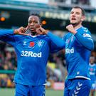 Happy return: Joe Aribo and Borna Barisic celebrate the opener