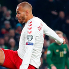 Big moment: Martin Braithwaite steers home for Denmark at the Aviva