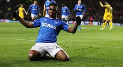 Goal machine: Alfredo Morelos has become the highest scorer in a European season for a Scottish club with 13 goals