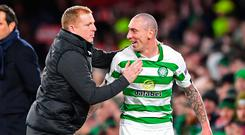 Table-toppers: Neil Lennon and Scott Brown after their victory over Rennes