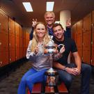 Aussie glory: Caroline Wozniacki with husband David Lee and father Piotr