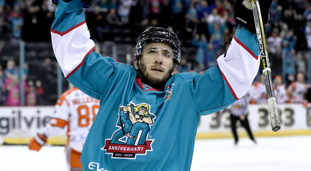 On song: Brian Ward scored for the Belfast Giants last night