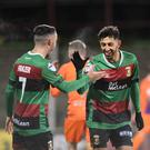 Smiles better: Glentoran's Navid Nasseri celebrates scoring Glentoran's second goal last night