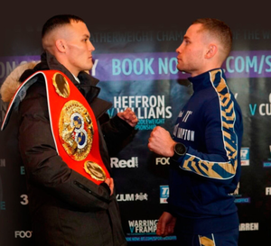 Face off: Warrington (left) and Frampton in Manchester yesterday
