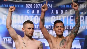 Carl Frampton, left, saw his homecoming bout against Andres Gutierrez, right, scrapped.
