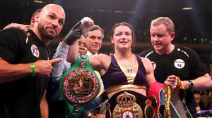Katie Taylor, second right, will step back down to lightweight to take on Amanda Serrano (Nick Potts/PA)