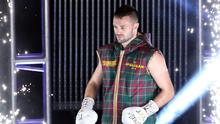 Josh Taylor walks out ahead of the super-lightweight unification at the O2 Arena, London (Paul Harding/PA)