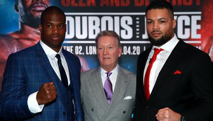 Daniel Dubois, left, and Joe Joyce had been scheduled to fight in April, July and October (Adam Davy/PA)