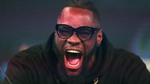 Deontay Wilder during a press conference at BT Sport Studio, London.