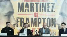 Dream team: Shane McGuigan, Carl Frampton, Barry McGuigan and Jake McGuigan announce the world title bout at the Europa Hotel in Belfast yesterday