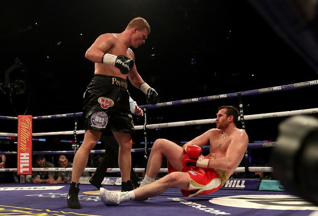 Alexander Povetkin, left, knocked out David Price in Cardiff in March to claim his 34th win in 35 fights (Nick Potts/PA)