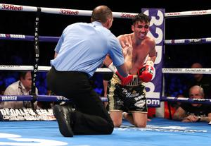 On count: Jamie Conlan during defeat to Jerwin Ancajas