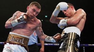 Carl Frampton, pictured left, defeated Scott Quigg in Manchester