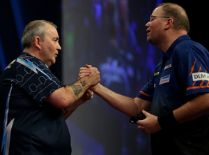Big names: Phil 'The Power' Taylor takes on Raymond van Barneveld at the SSE Arena tonight
