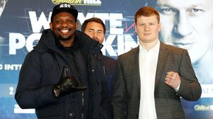 Dillian Whyte, left, and Alexander Povetkin meet in Essex on Saturday ((Martin Rickett/PA)