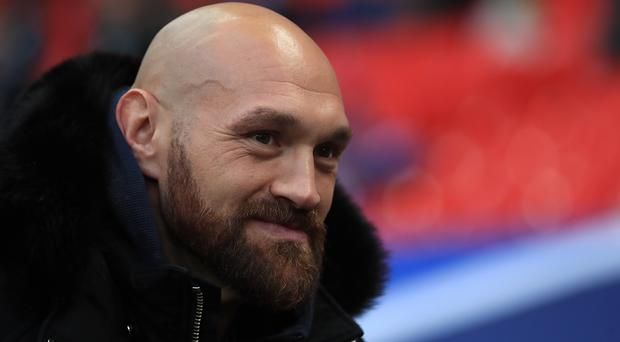 Tyson Fury was at Wembley Stadium for the NFL this weekend ahead of taking on Braun Strowman in a WWE event in Saudi Arabia on Thursday (Simon Cooper/PA)
