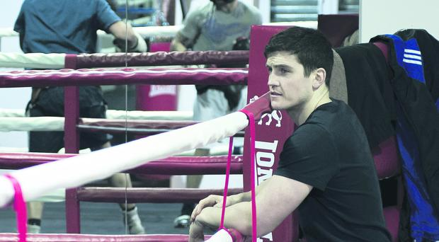 Shane McGuigan oversees Carl Frampton's training at his gym in Battersea ahead of his fight with Kiko Martinez