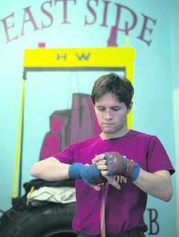 Luke Wilton in training at Eastside Boxing Club for his British title fight against Kevin Satchell in Liverpool tonight