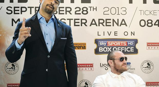 David Haye speaks out in the press conference to announce his fight with Tyson Fury