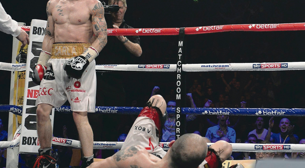 Return?: Carl Frampton looks on after stopping Kiko Martinez at the Odyssey in February