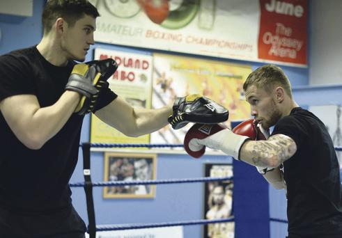 Punch perfect: Coach Shane McGuigan takes Carl Frampton on the pads ahead of the European champion's big fight