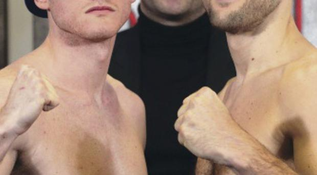 Head to head: Carl Froch (right) and George Groves yesterday