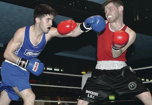 Gerard Matthews (left) and Marc McLaughlin (right) give it their all
