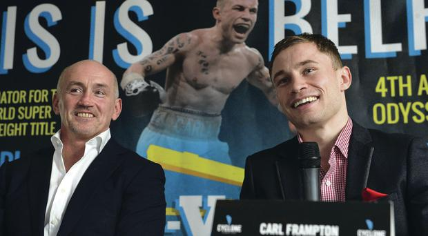 Barry McGuigan and Carl Frampton at yesterday's announcement