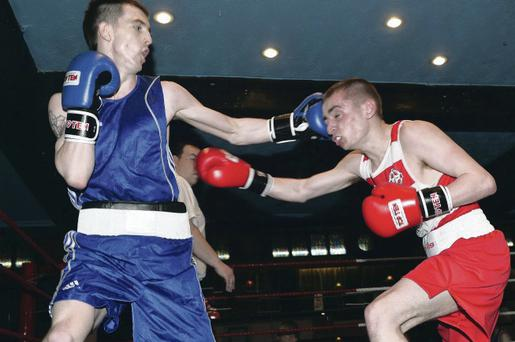 Sean Higginson (in blue) is hoping to land the Ulster Elite flyweight title tonight in the Europa Hotel